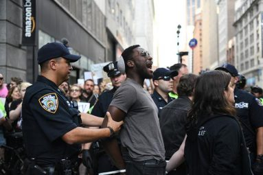 A man is arrested outside Amazon NYC