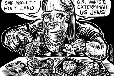 "A cartoon depicts a woman with a cross around her neck and various antisemitic propaganda saying ""The things she said about the holy land...that refugee girl wants to exterminate us Jews!"""