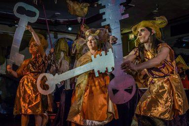 Purim dancers on stage