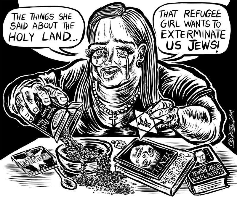 """A cartoon depicts a woman with a cross around her neck and various antisemitic propaganda saying """"The things she said about the holy land...that refugee girl wants to exterminate us Jews!"""""""